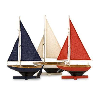 3 Piece Coastal Wood Model Ship Set