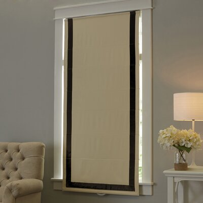 Indoor Cordless Roman Shade Color: Black, Size: 27 W x 64 L