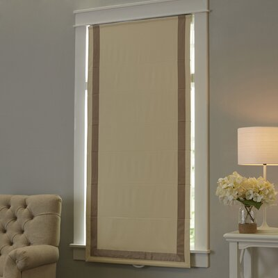 Indoor Cordless Roman Shade Color: Taupe/Natural, Size: 34 W x 64 L
