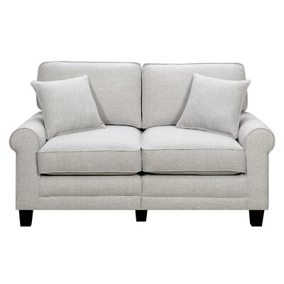Buxton 61 Rolled Arm Loveseat Upholstery: Light Gray