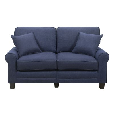 Buxton 61 Rolled Arm Loveseat Upholstery: Navy