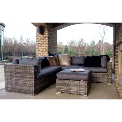 Verde Multi-Shade Rattan 4 Piece Sectional Seating Group with Cushions