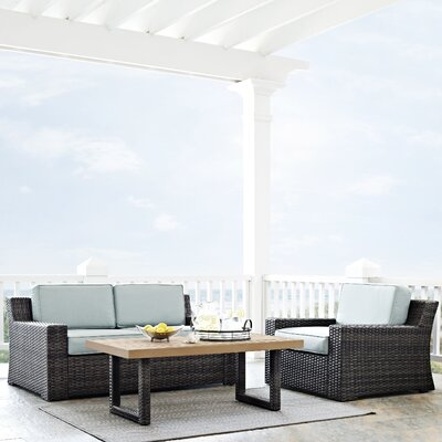 Linwood 3 Piece Deep Seating Group with Moisture Resistant Cushion