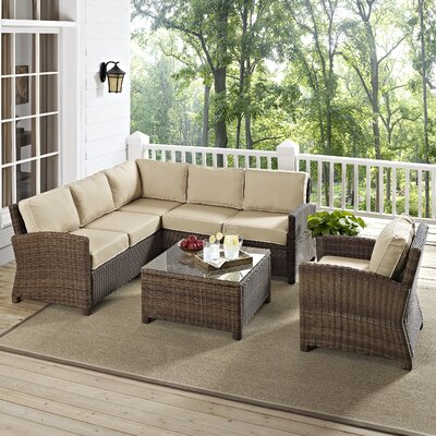 Middlesex 5 Piece Sectional Seating Group with Cushion Fabric: Sand