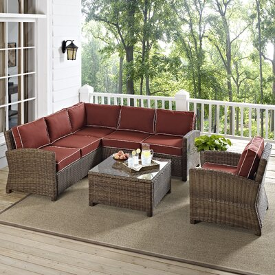 Dardel 5 Piece Sectional Seating Group with Cushion Fabric: Sangria