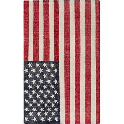 Alexander Handmade Cherry/Navy American Flag Area Rug Rug Size: 56 x 86