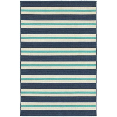Springwater Blue/Ivory Indoor/Outdoor Area Rug Rug Size: Rectangle 37 x 57