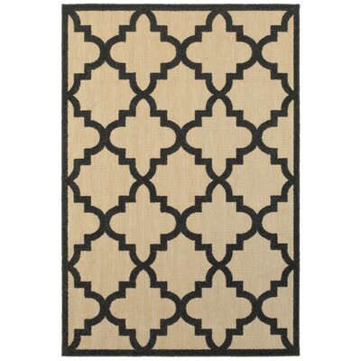 Bellwood Sand/Charcoal Outdoor Area Rug Rug Size: Rectangle 53 x 76