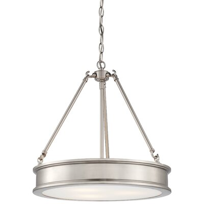 Bowers 3-Light Drum Pendant Finish : Brushed Nickel