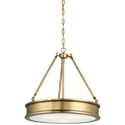 Bowers 3-Light Drum Pendant Finish : Liberty Gold