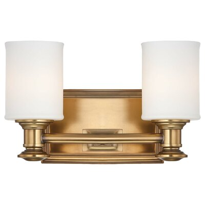 Delmont 2-Light Vanity Light Finish: Liberty Gold