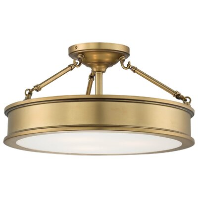 Delmont 3-Light Semi-Flush Mount Finish: Liberty Gold