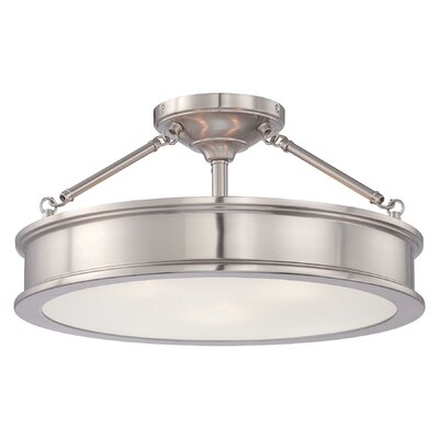 Delmont 3-Light Semi-Flush Mount Finish: Brushed Nickel