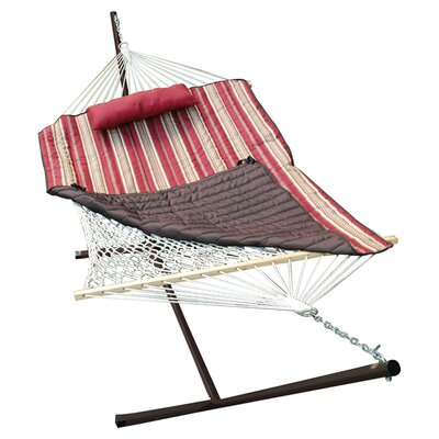 Umbria 4 Piece Rope Cotton Hammock with Stand Set Color: Burgundy / Tan Stripe