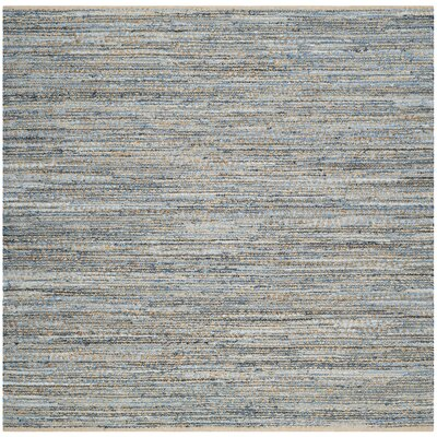 Cromwell Hand-Woven Natural/Blue Area Rug Rug Size: Square 6