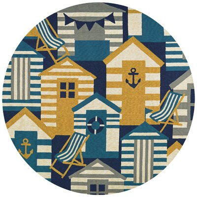 Seaside Beach Hut Blue/Brown Indoor/Outdoor Area Rug Rug Size: Round 710