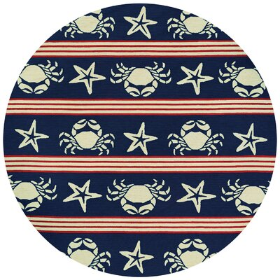 Seaside Blue/Red Indoor/Outdoor Area Rug Rug Size: Round 710