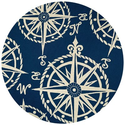 Beaufort Hand-Hooked Navy/Beige Indoor/Outdoor Area Rug Rug Size: Round 710