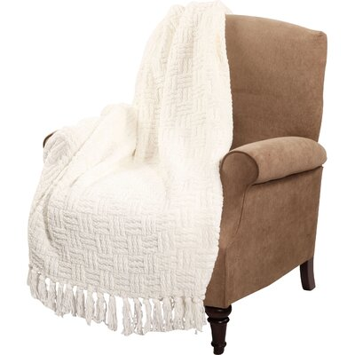 Bernice Knitted Polyester Throw Blanket Color: Antique White
