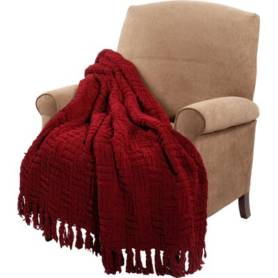 Bernice Knitted Polyester Throw Blanket Color: Burgundy