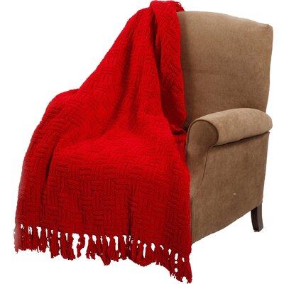 Bernice Knitted Polyester Throw Blanket Color: Red