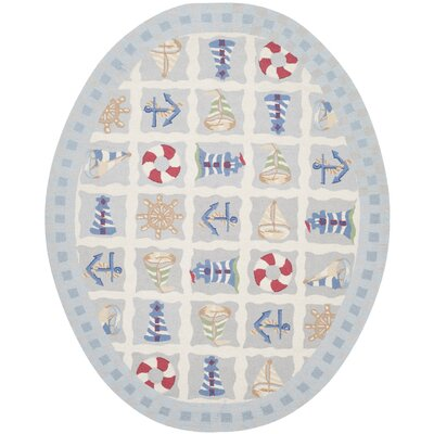 Eldridge Ivory / Blue Marina Novelty Area Rug Rug Size: Oval 76 x 96