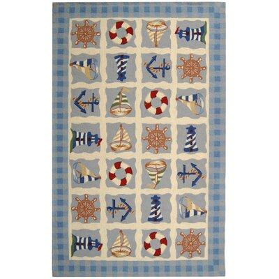 Eldridge Ivory / Blue Marina Novelty Area Rug Rug Size: 18 x 26