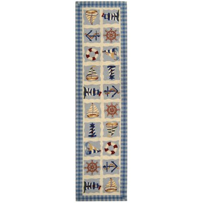 Eldridge Ivory / Blue Marina Novelty Area Rug Rug Size: Runner 26 x 12