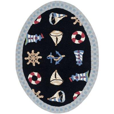 Eldridge Black / Blue Marina Novelty Area Rug Rug Size: Oval 46 x 66