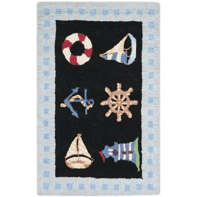 Eldridge Black / Blue Marina Novelty Area Rug Rug Size: 26 x 4