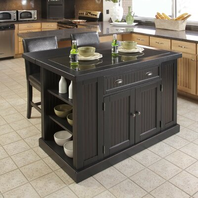 Gouldsboro Kitchen Island with Granite Top Base Finish: Black