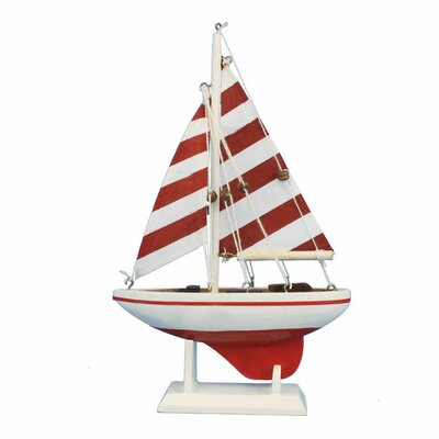 Pacific Sailer Wooden Striped Model Sailboat Color: Red