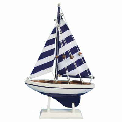 Pacific Sailer Wooden Striped Model Sailboat Color: Blue