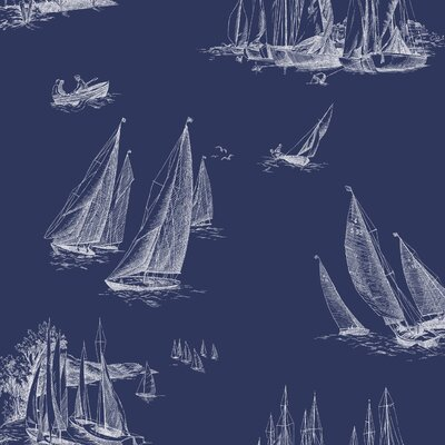 Gannon Sailboat Toile 27' x 27 Scenic Wallpaper Color: Blueprint Blue and White