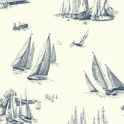 Gannon Sailboat Toile 27' x 27 Scenic Wallpaper Color: White and Blueprint Blue