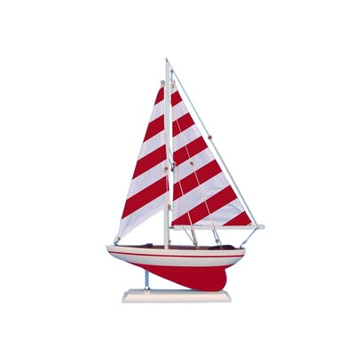 Striped Pacific Sailer Model Yacht Color: Red