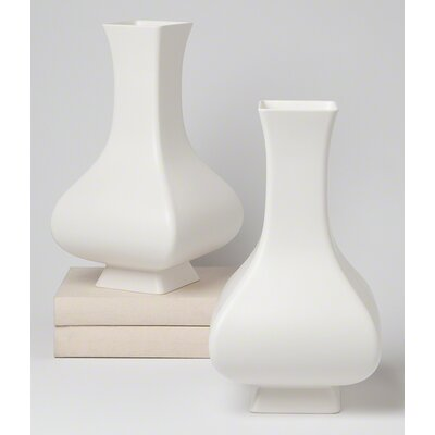 Square Matte White Ceramic Slope Vase