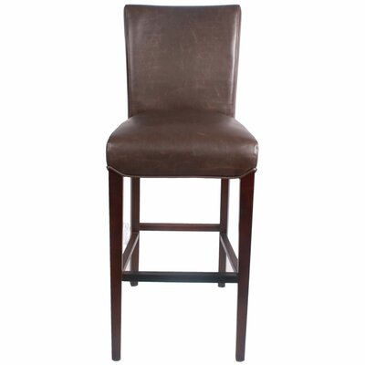 Ginevra 29.5 inch Bar Stool with Cushion Upholstery: Vintage Dark Brown