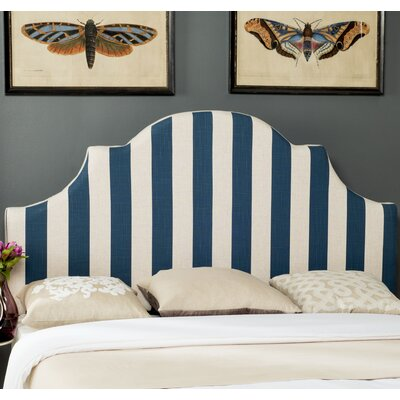 Arden Upholstered Panel Headboard Size: King, Upholstery: Navy / White
