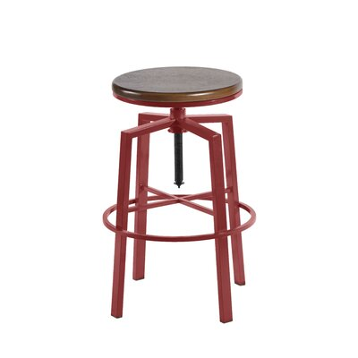 Loredana Adjustable Height Swivel Bar Stool Finish: Red