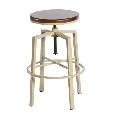 Creekmont Adjustable Height Swivel Bar Stool Color: Beige