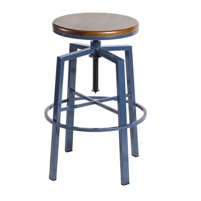 Creekmont Adjustable Height Swivel Bar Stool Color: Navy