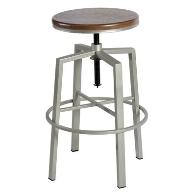 Creekmont Adjustable Height Swivel Bar Stool Finish: Silver