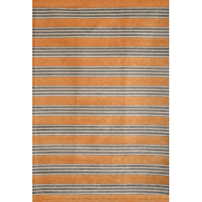 Luciana� Tangerine/Gray/Ivory Area Rug Rug Size: 53 x 76