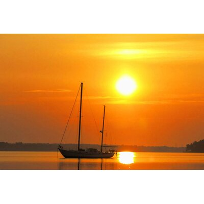 Sunrise Sail Boat Photographic Print on Wrapped Canvas Size: 12