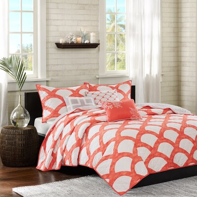 Lowrey 6 Piece Reversible Coverlet Set Size: King, Color: Coral