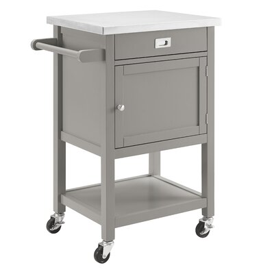 Eira Kitchen Cart with Stainless Steel Top Base Finish: Gray
