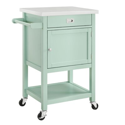 Brookridge Kitchen Cart with Stainless Steel Top Base Finish: Green