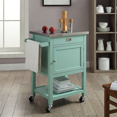 Eira Kitchen Cart with Stainless Steel Top Base Finish: Green