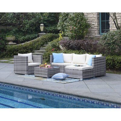 Alexandrina 6 Piece Deep Seating Group with Cushion Fabric: Beige
